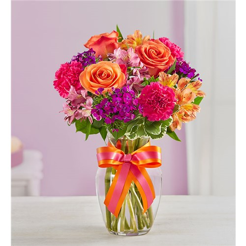 Sassy-N-Sweet-orange-and-pink-blooms-in-a-vase